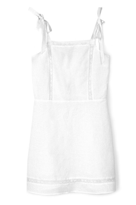 Keep it short and sweet in this white linen dress from Mango.
