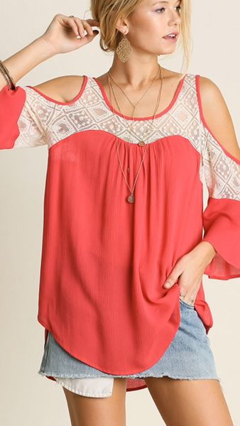 Coral Cold Shoulder Lace Top Stitch fix. Summer 2016. Fashion