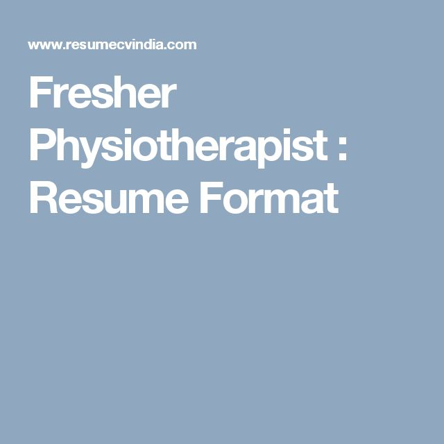 31 best Resume Templates images on Pinterest Resume templates - physiotherepist resume