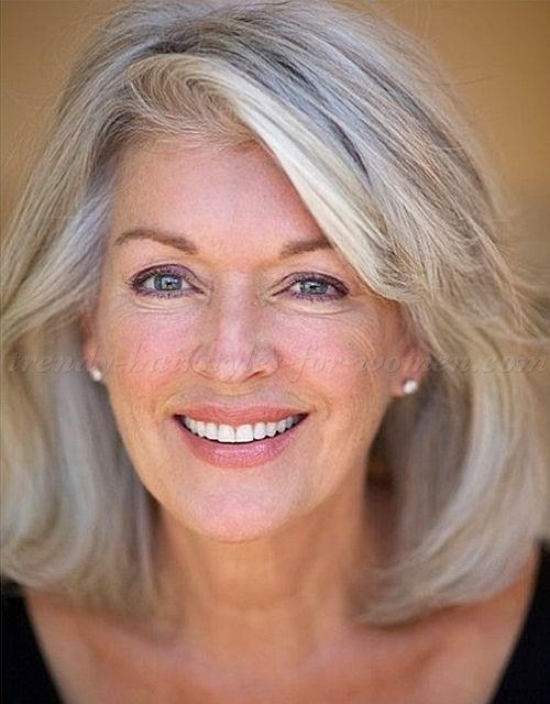 medium hairstyles for mature women - medium length hairstyle for gray hair|trendy-hairstyles-for-women.com