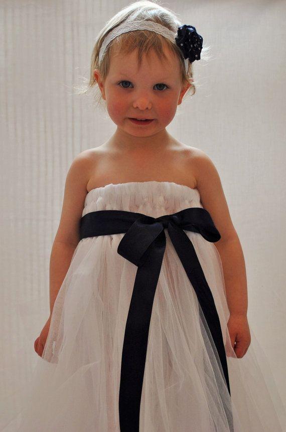 White Flowergirl tutu dress with Navy blue sash by BeautifulGreys, £34.00