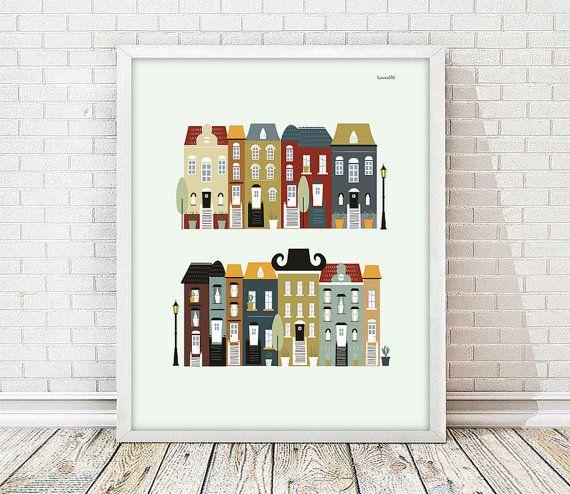 laminas decorativas, laminas casas, laminas ciudades, cuadros decoracion, laminas a4, laminas imprimibles, casas decorativas, ilustraciones