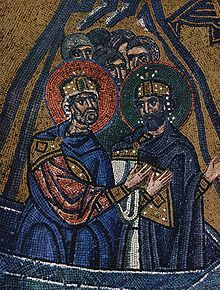 Mosaic detail from Nea Moni of Chios Monastery. I like how the sleeves are shown.