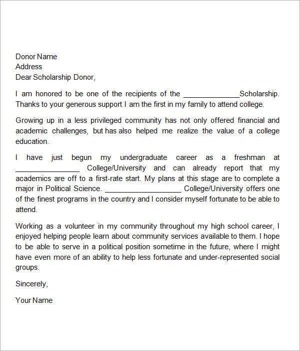 Thank You Note For Scholarship Thank You Letter Examples Scholarship Thank You Letter Thank You Letter Sample
