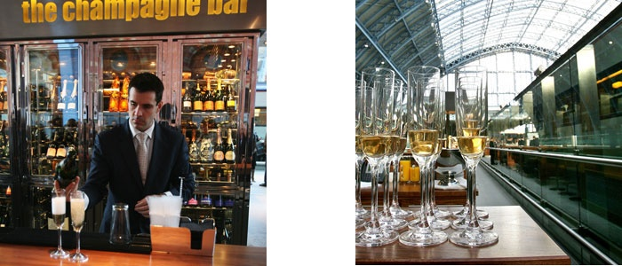 """The glamorous St Pancras Grand Champagne Bar is 'Europe's longest' and is situated to allow a full appreciation of the magnificent architecture of this historic Victorian station. The Champagne list is impressive and the Sommeliers' fine choice extends to the elegant www.Dartington.co.uk crystal flutes. This stunning location is one of many hospitality venues where our specially formulated """"performance crystal"""" collections are used and enjoyed."""