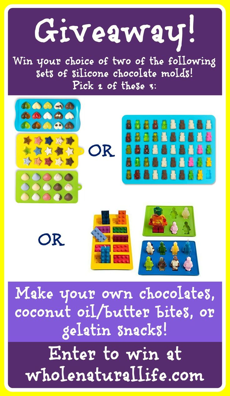 Win 2 sets of silicone chocolate molds! Great for making your own chocolates, coconut oil/butter bites, or gelatin snacks!