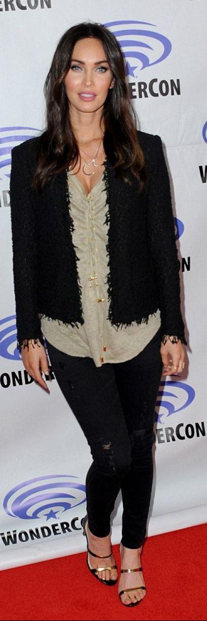 Megan Fox's black fringe tweed jacket, jewelry, and gold sandals