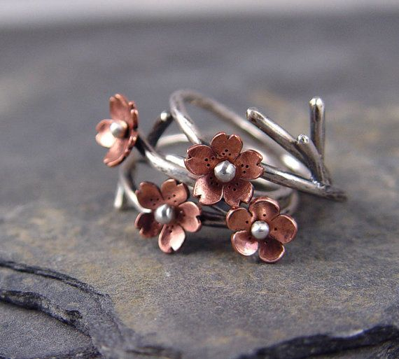 Cherry Blossom Branch Adjustable Ring, Plum Blossom, 1 ring MADE to ORDER, Twig Ring, Branch Ring, POINTED petals, Gifts for her