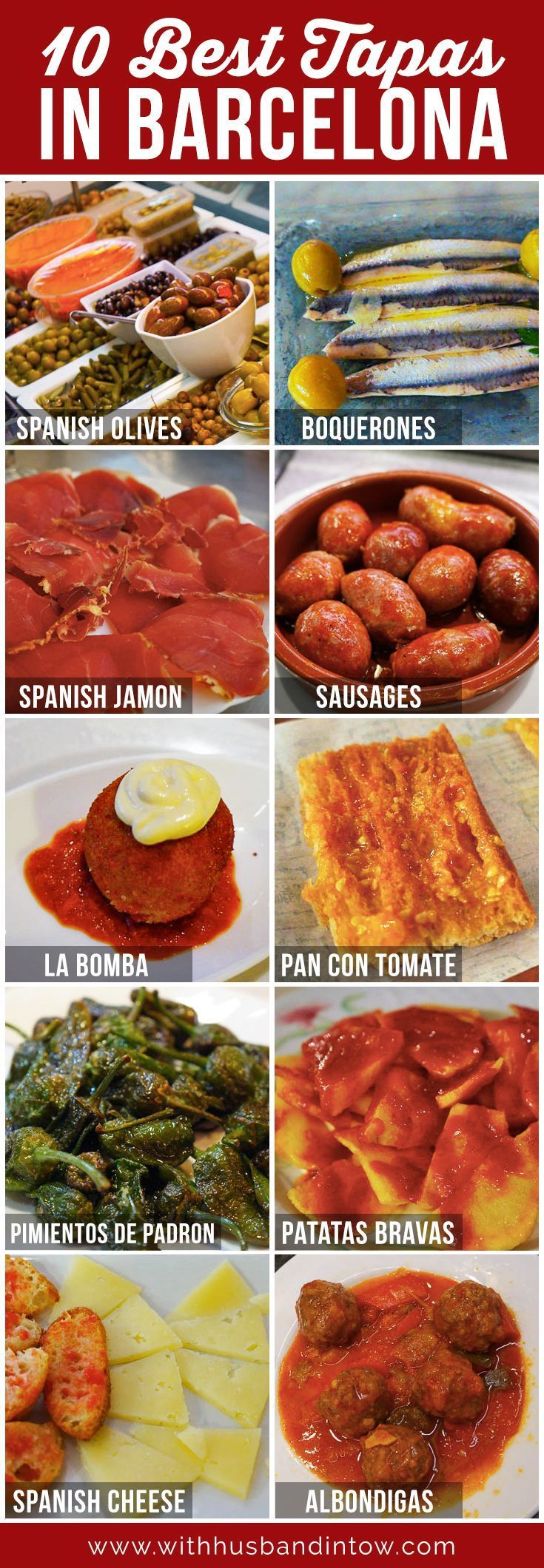 Spain, and in particular Barcelona, is one of my favorite places to eat. Check out the 10 best tapas in Barcelona! http://www.withhusbandintow.com/10-best-tapas-in-barcelona/ #Food #Travel #Spain