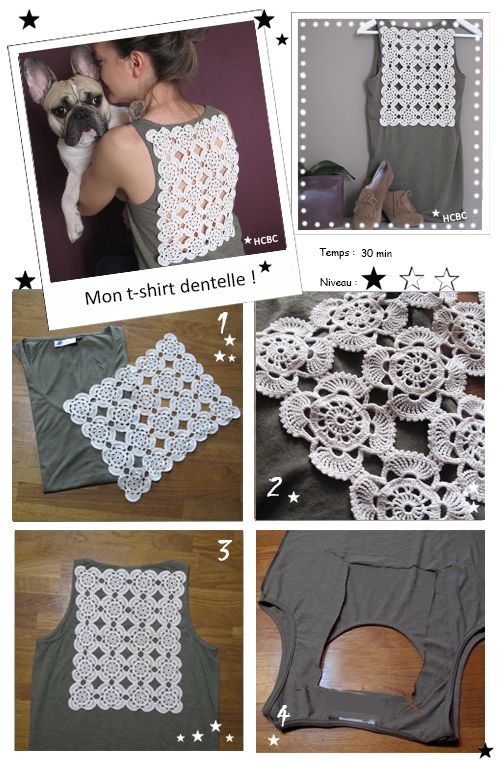 Diy t-shirt kaki + dentelle
