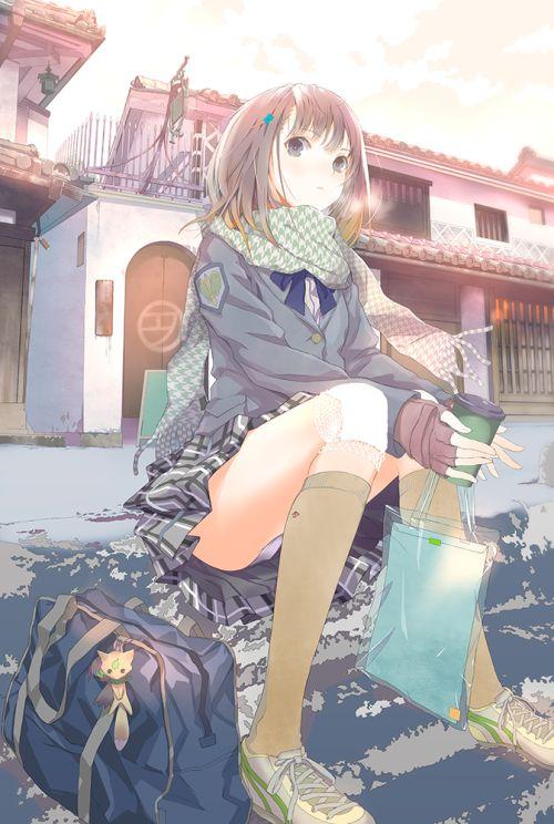 くろねこぷらす二次画像まとめ:【二次】制服の上にマフラーを巻いた女の子の可愛い画像が見たい4!