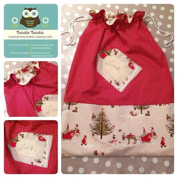 Handmade Personalised Christmas Santa Sacks - Choice of Fabrics on Etsy, £32.50