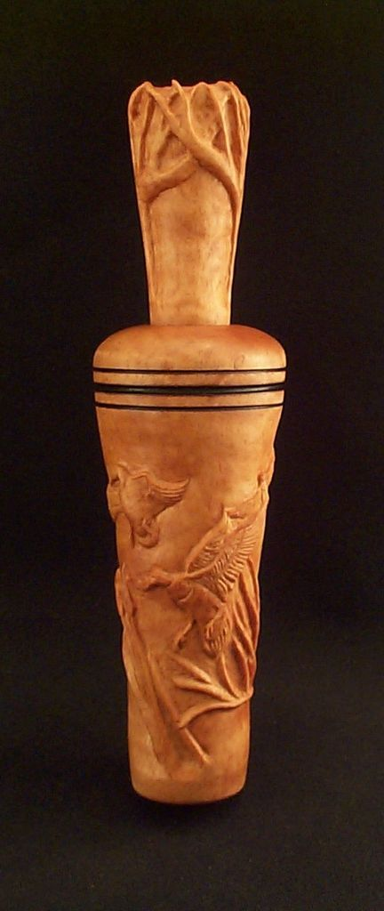 Figured maple carved duck call woodworking calls