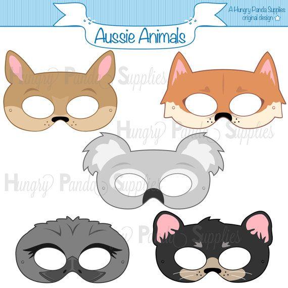 Australian Animals Printable Masks, aussie animal mask, koala mask, kangaroo mask, dingo mask, emu mask, tasmanian mask, outback animal mask