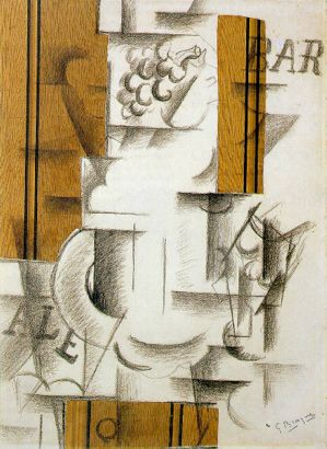 Georges Braque Fruit Dish and Glass 1912 papier collé and charcoal on paper 56 x 76cms