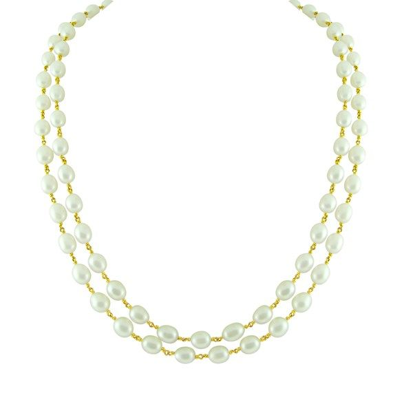 Jpearls Dual String Pearl Gold Chain   2 Lines Pearl Gold Chain