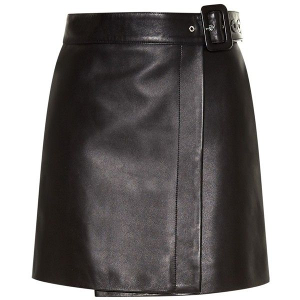 Balenciaga Belted leather mini skirt ($1,510) ❤ liked on Polyvore featuring skirts, mini skirts, clear skirts, black miniskirt, short black mini skirt, leather skirt and black leather miniskirt