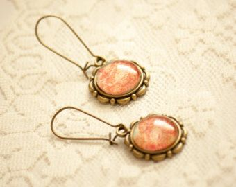 Lace Edging Round 18 mm Glass Dangle Earrings