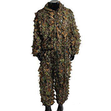 OUTERDO 3D foglia vestito di Ghillie Woodland Camo Abbigliamento mimetico giungla Caccia