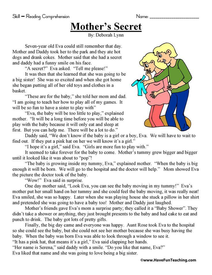Mother S Secret Reading Prehension Worksheet
