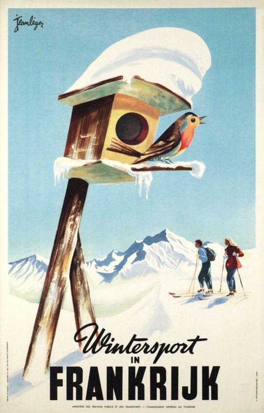 Leger Jean / 1950  Wintersport in Frankrijk (France)  vintage ski poster