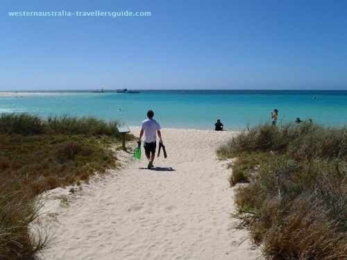 The town beach at Coral Bay on the remote Ningaloo coast in Western Australia