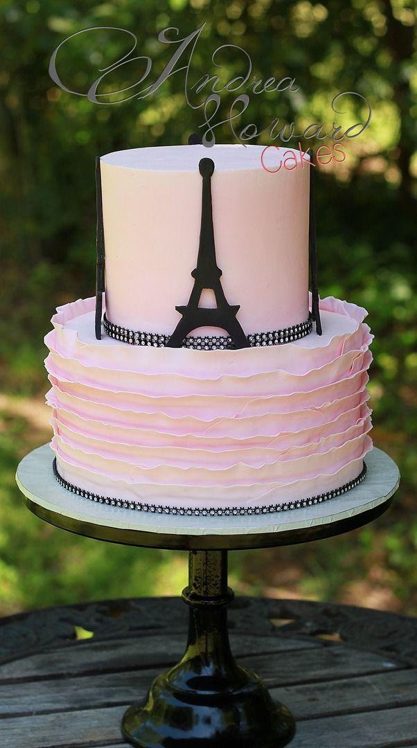 Pink Amp Black Ruffle Eiffel Tower Cake Cakes Paris