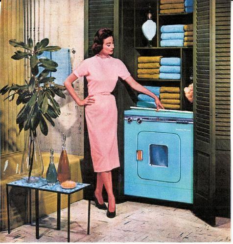 Pretty blue washing machine.