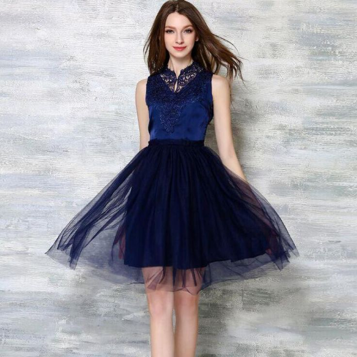 High Quality Lace Summer Casual Dress New 2016 Fashion Gauze Patchwork Sleeveless Slim Women Elegant Evening Party Dresses H135 //   Цена: $ US $23.99 & Бесплатная доставка //    #fashionmartonline #мода #стиль