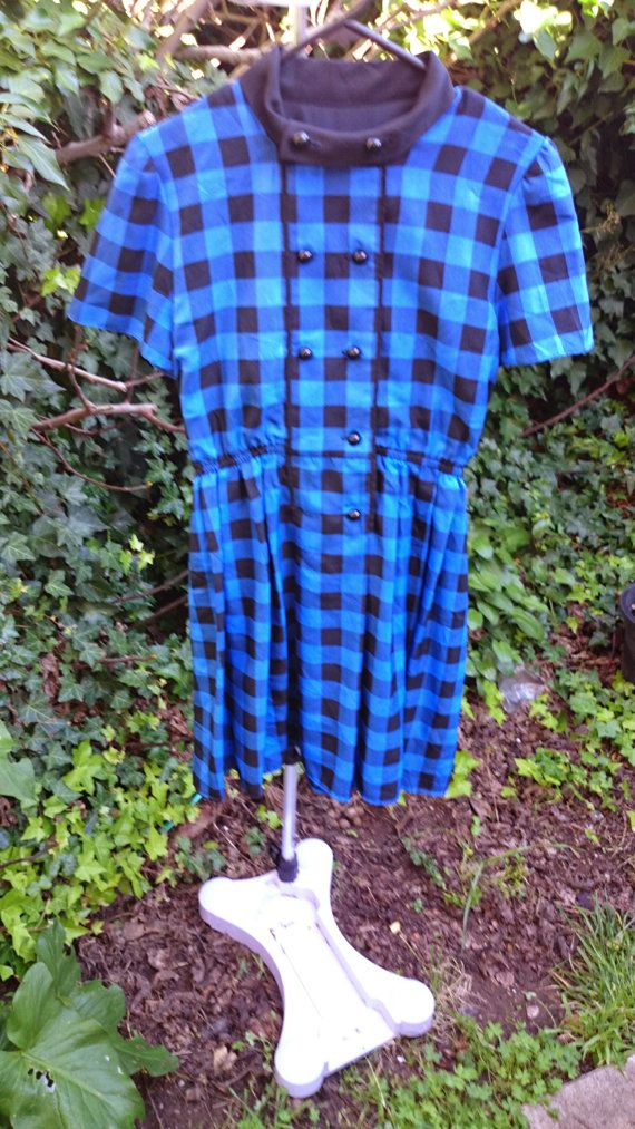 Hey, I found this really awesome Etsy listing at https://www.etsy.com/listing/198908206/blue-and-back-vintage-checkered-dress