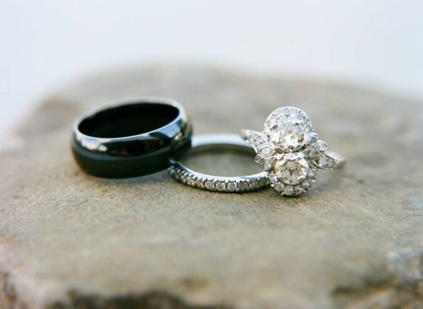 Her antique diamond ring and diamond band from Walton's.