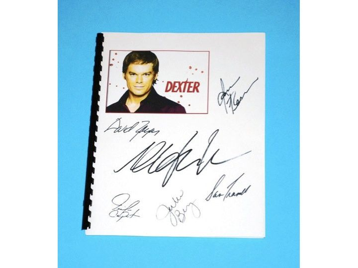 "You are considering a color reproduction of the complete script for: DEXTER T.V. Script ""PILOT EPISODE"" REPRINTEDSIGNATURES OF CAST: MICHAEL C. HALL, JAMES REMAR, JULIE BENZ, JENNIFER CARPENTER, DAVID"