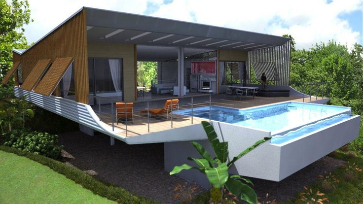 A way to handle a pool on a sloped lot slope houses - Building a swimming pool on a slope ...