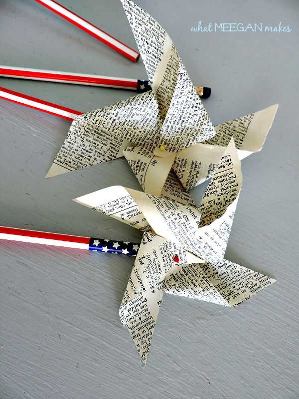 DIY Vintage Book Page Pinwheel... use newspaper instead of book pages for this. Super cute.