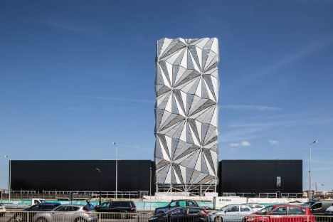 Conrad Shawcross has installed a 49-metre-high structure around the soon-to-be built chimneys of an energy centre.