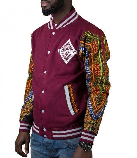 Limited Edition Afrination Burgandy Dashiki Varsity Jacket