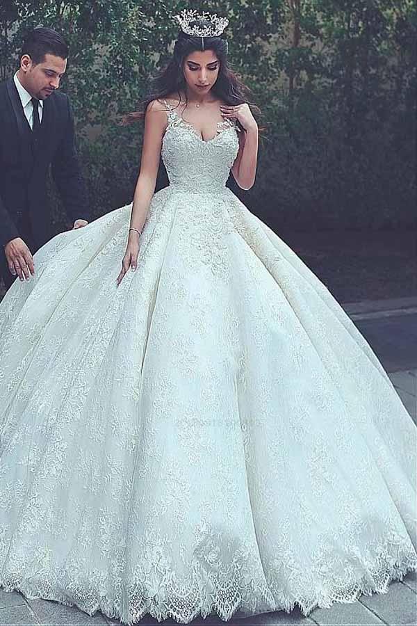 Lace Wedding Dress #LaceWeddingDress, V-Neck Wedding Dress #VNeckWeddingDress, V…