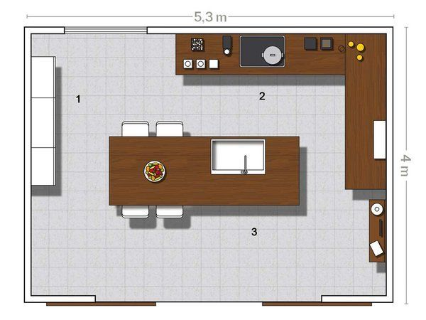 Plano de la cocina en L con isla multifunción