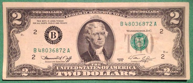 1976 $2 Dollar Bill Federal Reserve Note Two Dollar Currency U.S.