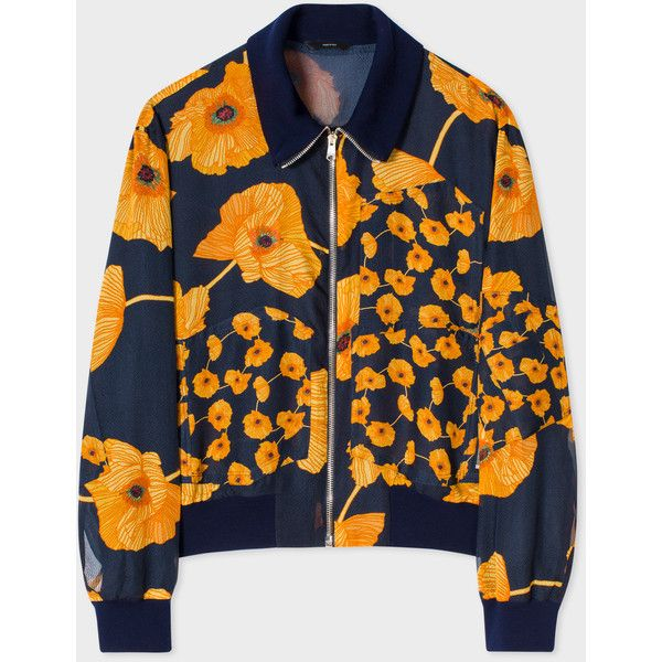 Paul Smith Women's Navy 'Poppy Chain' Silk Bomber Jacket (13.650.075 IDR) ❤ liked on Polyvore featuring outerwear, jackets, zipper jacket, silk jacket, zip jacket, navy bomber jacket and bomber jacket