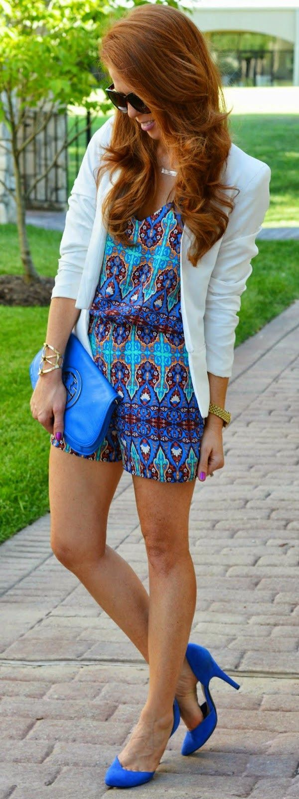 Bright Blue Combo Aztec Print and Jacket