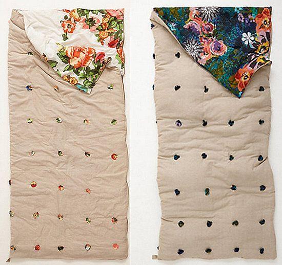 Florabunda Sleeping Bag: Camp life is a bed of roses — or so it will seem as you snuggle into this reversible Anthropologie Florabunda Sleeping Bag ($188).