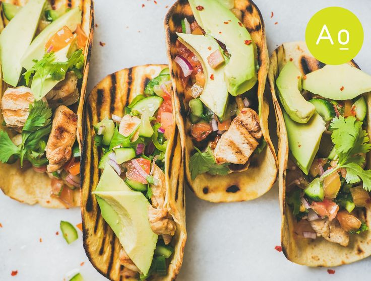 Healthy corn tortillas with grilled chicken fillet, avocado, fresh salsa & limes.