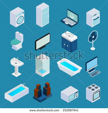 Isometric household appliances set with washing machine refrigerator computer 3d icons isolated vector illustration - stock vector
