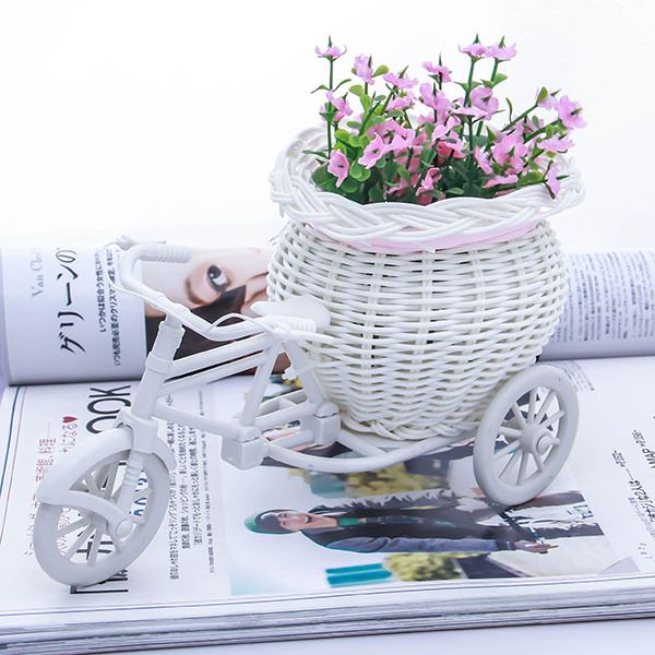 New White Tricycle Bike Design Flower Basket Storage Container For Party Wedding