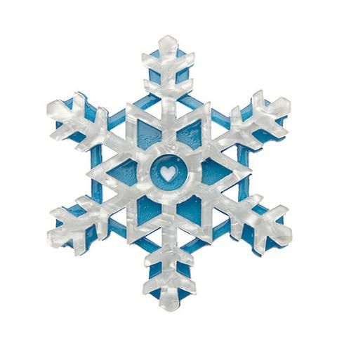 "Erstwilder Limited Edition Seasonal Symmetry Brooch. ""Can you guess which one of these snowflake facts is really a myth? 1.No two snowflakes are alike or 2.Near fire, they melt."""
