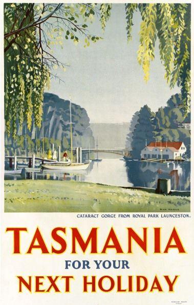 Cataract Gorge from Royal Park Launceston, by celebrated Tasmanian artist Max Angus. #1950s #launceston #travel #travelposters #tasmania #discovertasmania