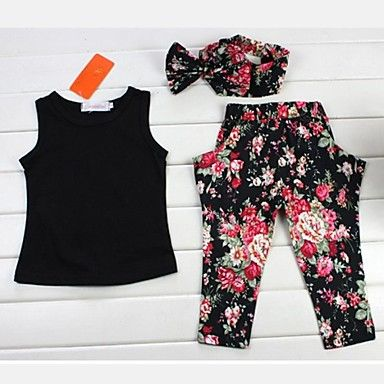 Girl's Black Sleeveless Top And Pants Clothing Set(Including Printed Headscarves) – AUD $ 20.74