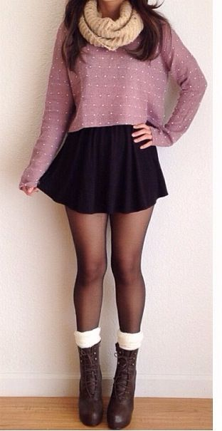 Black skirt and tights, adorable boots.