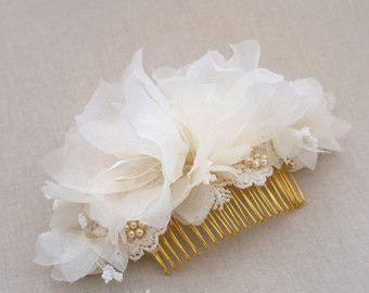 SHOP CLOSING SALE Bridal Flower Comb Airy by ForeverHookedBridal